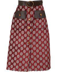 Gucci Velvet GG Midi Skirt - Multicolor