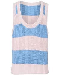 Prada Coton Stripped Tank Sweater - Blue