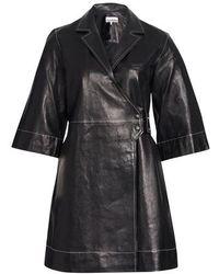 Ganni Minikleid aus Lammleder - Schwarz