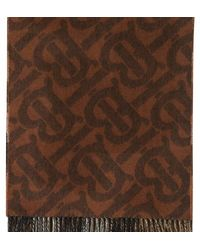Burberry Reversible Check And Monogram Cashmere Scarf - Brown