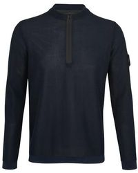 Stone Island Shadow Project Light Mesh Knit Half-zipped Jumper - Blue
