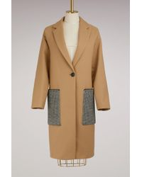 Proenza Schouler - Wool Long Coat With Oversize Pockets - Lyst