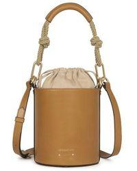 Vanessa Bruno Calfskin Leather Mini Holly Bucket Bag - Brown