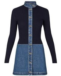 Louis Vuitton Robe Bi-Matière En Denim Délavé - Bleu