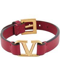 Valentino - Garavani Leather Vlogo Bracelet - Lyst