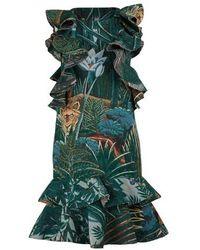 KENZO Printed Flowers Short Dress With Ruffles - Green