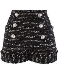 Balmain Short en tweed à bords francs - Noir