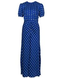 Self-Portrait Polka Dot Dress - Blue