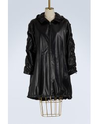 Prada - Leather Hooded Parka - Lyst