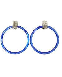Balenciaga Hoop M Earrings - Blue