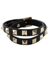 Valentino Double bracelet Rockstud Garavani - Noir