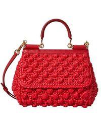 Dolce & Gabbana Petit sac porté épaule Sicily en rafia - Rouge