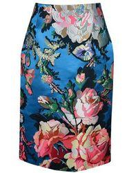 Dries Van Noten Floral Jacquard Midi Skirt - Blue
