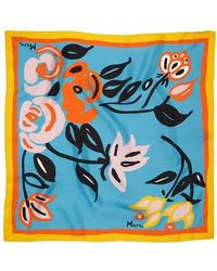 Marni Square Abstract Floral Motif Scarf - Blue