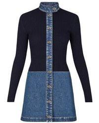 Louis Vuitton Stonewashed Denim Bi-material Dress - Blue