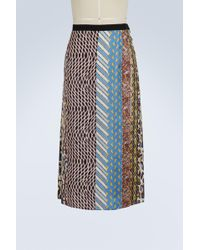 Carven   Pleated Silk Midi Skirt   Lyst