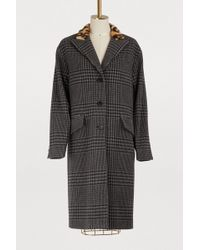 Miu Miu - Wool Prince Of Wales Coat - Lyst