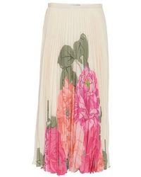 Valentino Printed Crepe De Chine Skirt - White