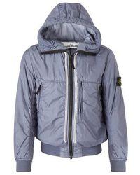 Stone Island Manteau zippé à capuche - Bleu