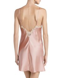 La Perla Slipdress aus Seide mit Frastaglio - Pink