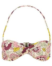 Dodo Bar Or Kayla Floral-print Twisted Bandeau Bikini Top - Pink
