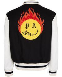 Palm Angels Burning Head Varsity Jacket - Black