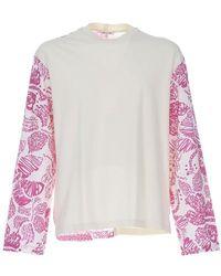 Marni T-shirt à manches longues et à empiècements - Rose