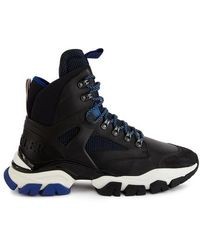Moncler Tristan Black Leather & Mesh High Top Sneakers