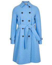Harris Wharf London Trench en laine pressée - Bleu