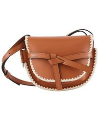 Loewe Gate Crochet Small Leather Shoulder Bag - Brown