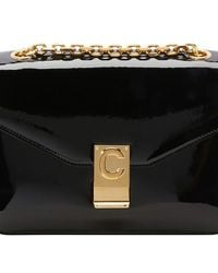 Celine Medium C Bag In Patent Calfskin - Black