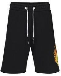 Palm Angels Burning Head Sweat Shorts - Black