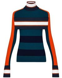 Louis Vuitton Striped Turtle Neck Pullover With Band - Blue