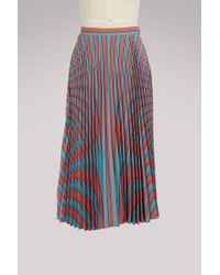 Maison Margiela - Pleated Striped Skirt - Lyst