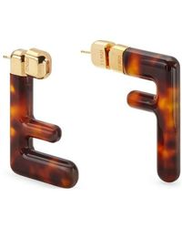 Fendi Ff Tortoiseshell-acetate Brooch - Brown