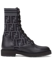 Fendi Leather Biker Boots With Stretch Fabric - Black