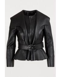 Alexander McQueen Leather Peplum Jacket