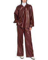 Nanushka Keiron Blouse In Vegan Leather - Multicolor