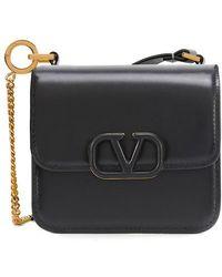 Valentino Garavani Micro Vsling Shiny Calfskin Shoulder Bag - Black