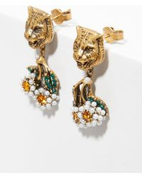 Gucci - Feline Earrings With Crystals - Lyst
