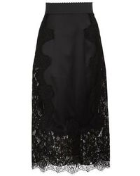 Dolce & Gabbana Lace Silk Skirt - Black