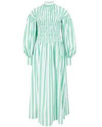 Ganni Gestreiftes Kleid - Grün