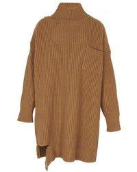 Marni Distressed-hem Knit Dress - Brown
