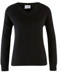 Alexandra Golovanoff Catherine Night V-neck Cashmere Sweater - Black