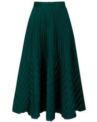 Thebe Magugu Jupe longue plissée avec dentelle - Vert