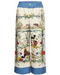 Gucci Mickey Mouse Silk Pyjama Bottoms - Multicolour