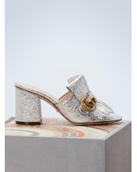 Gucci - Marmont Leather Mules - Lyst