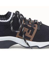 Fendi Low-Top Sneaker Aus Strick - Schwarz