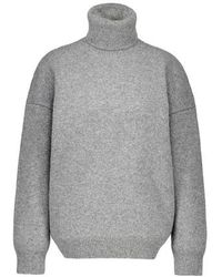 Celine Double-faced Virgin Wool And Cashmere Roll-neck Sweater - Gray