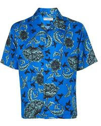 Givenchy Chemise en soie à imprimé floral - Bleu